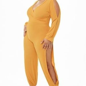 Sexy Mustard Vented Jumpsuit NWOT